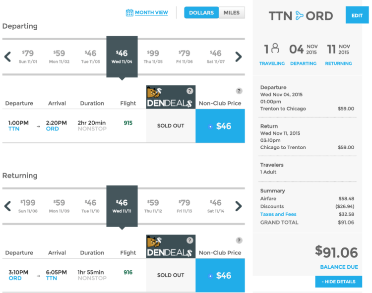Trenton, NJ (TTN) to Chicago (ORD) for $91 round-trip.
