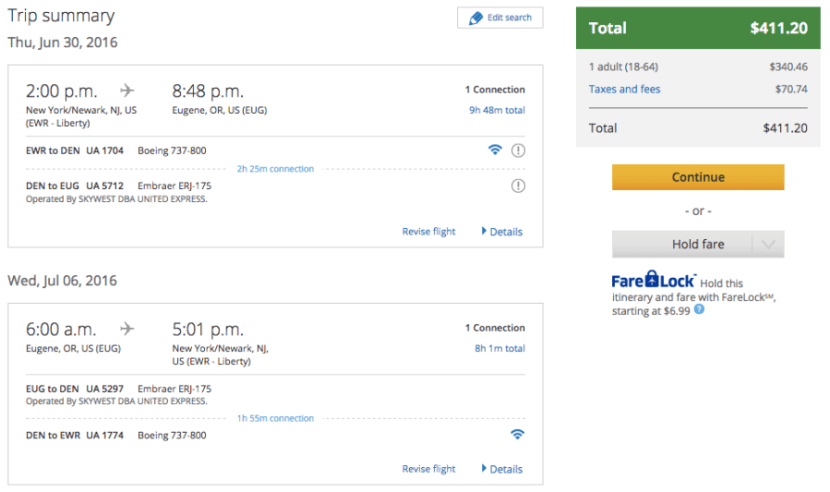 Newark (EWR) to Eugene, OR (EUG) for $411 in First Class on United.