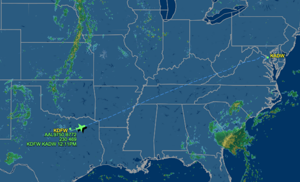 The Pope's plane en-route from DFW.