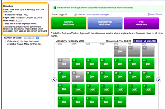 Almost every day in January and February have space in the nonstop JFK-HEL flight for only 20k miles.