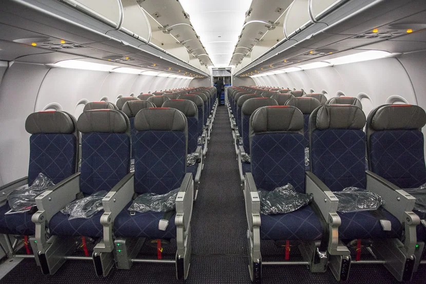 The economy cabin on the A321T is actually pretty short, with only 12 rows.