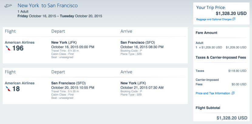 New York (JFK) to San Francisco (SFO) for $1,328 in first class on American.