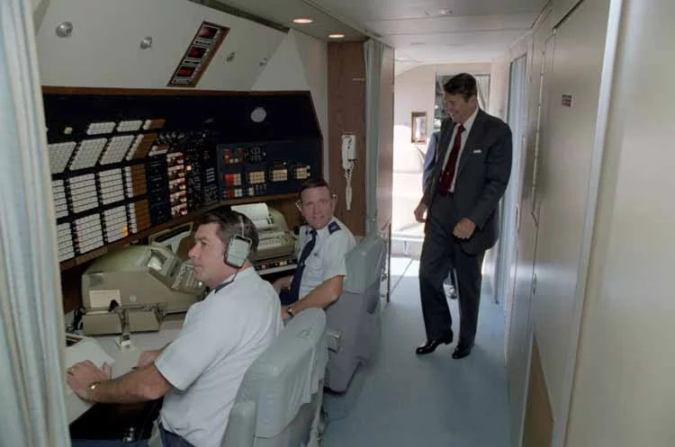 The communications center aboard Air Force One. Photo courtesy: Reagan Foundation.