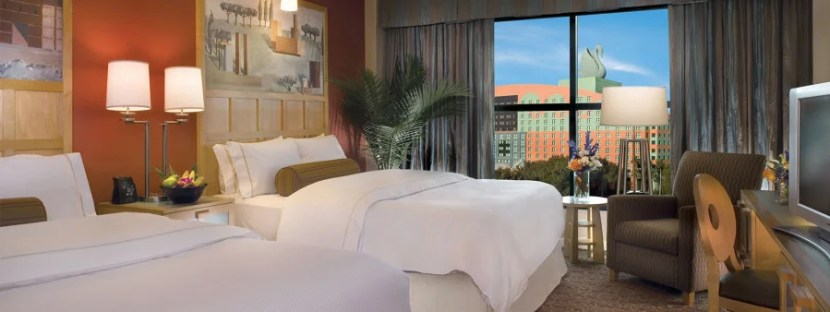 Rooms at Dolphin tend to be about $175 per night — $10 less per night than those at Swan.