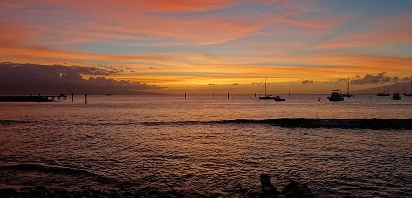 The sunset at the Old Lahaina Luau.