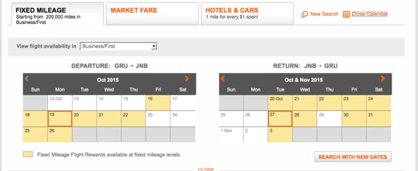Aeroplan JNB GRU calendar