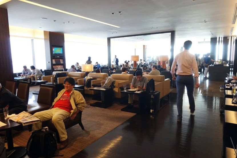 The very busy first-class lounge.