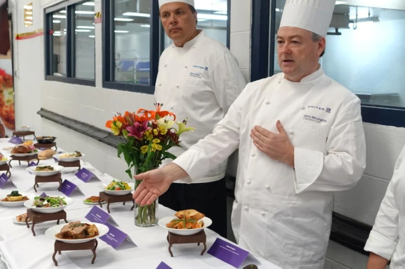 United Executive Chef Gerry McLoughlin presents the airline's fall menu items.