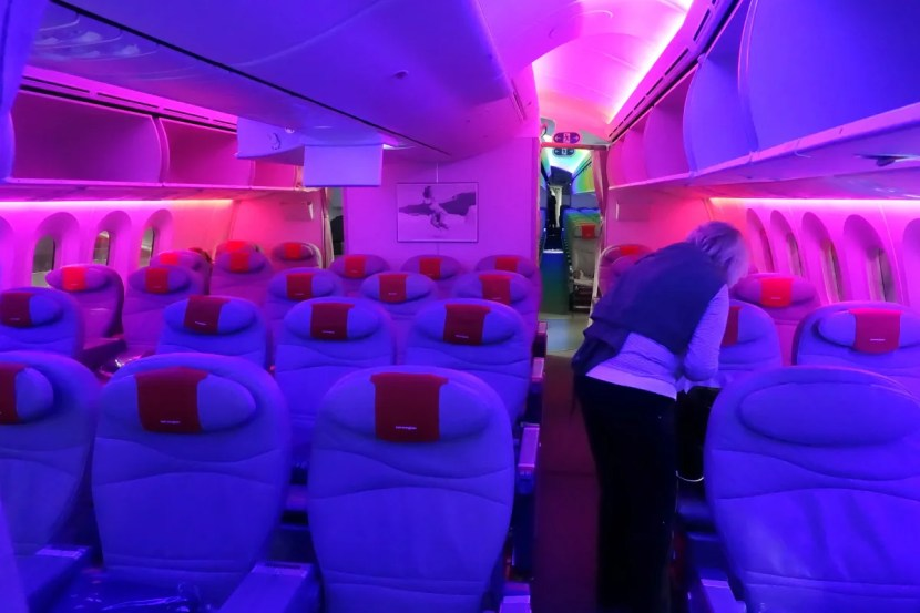 """The crew set the cabin lighting to """"rainbow"""" mode for boarding."""