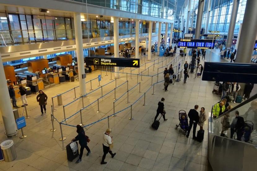 The fairly empty SAS check-in area at CPH.