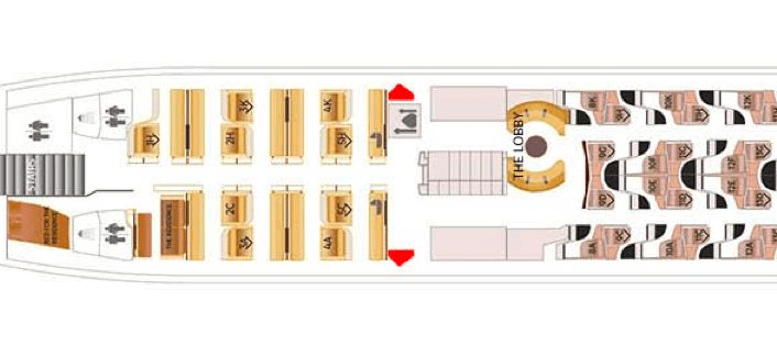 The seat map of Etihad's A380 - half those first-class Apartments face backwards.