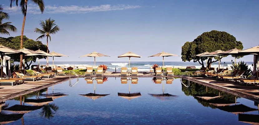 The pool at the Four Seasons Resort Hualalai on Hawaii's Big Island.