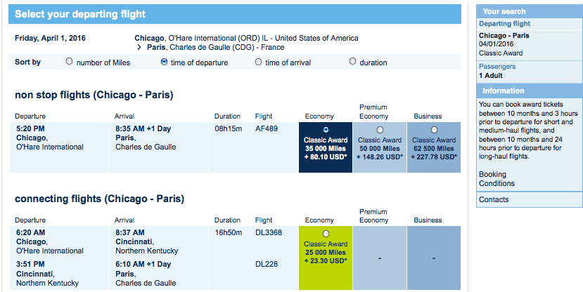 Flying Blue ORD CDG flights