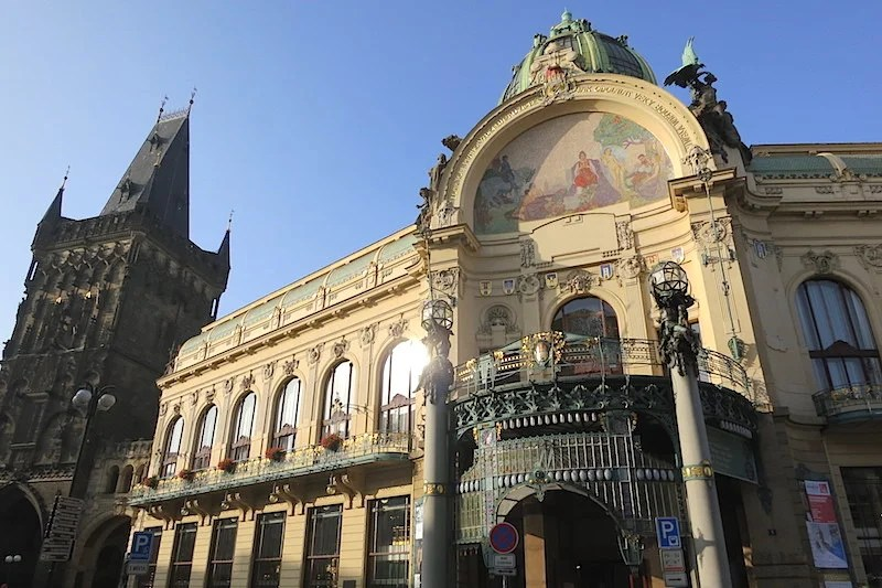 Prague's Municipal House, beside the 11th-century Powder Gate, is one of the most stunning examples of Art Nouveau architecture.