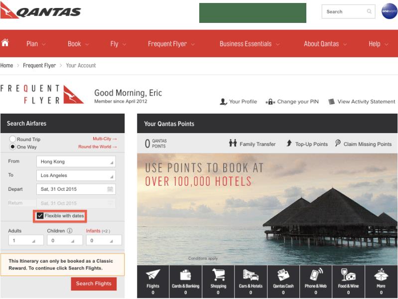 Qantas logged in