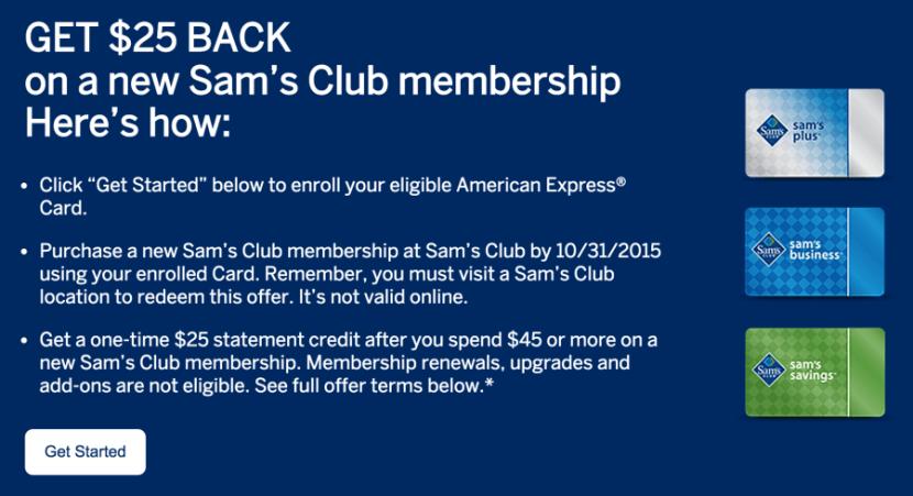 Get $25 back on a new Sam's Club membership.