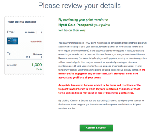 Ultimate Rewards Hyatt transfer review