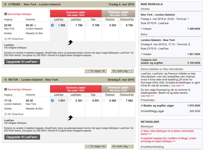 New York (JFK) to London (LGW) for 3,120 NOK ($371) on Norwegian.