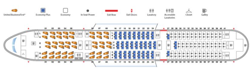 United 787-9 seat map.