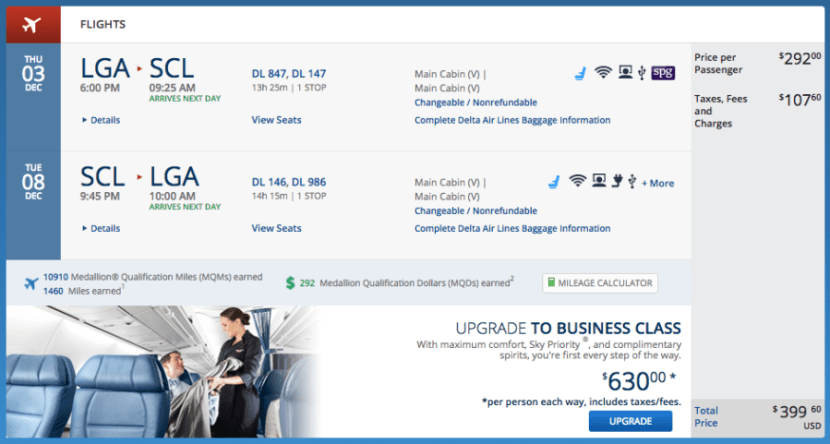 New York (LGA) to Santiago (SCL) for $400 on Delta.
