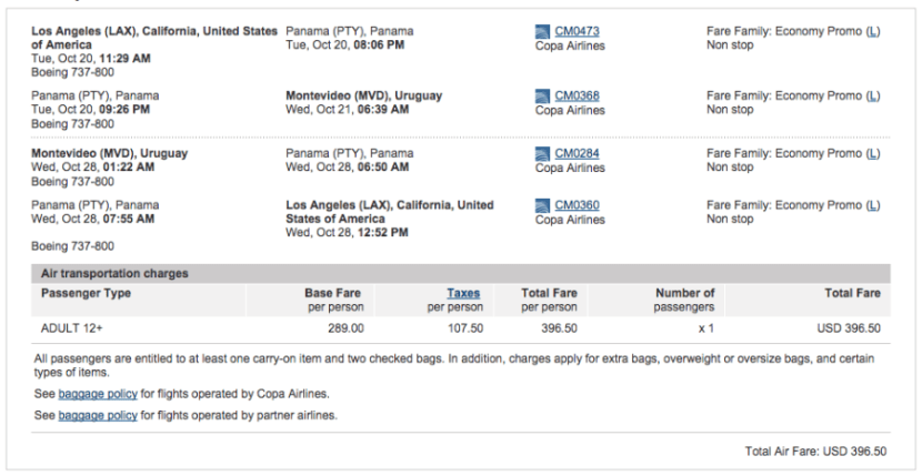 Los Angeles (LAX) to Montevideo (MVD) for $397 on Copa.