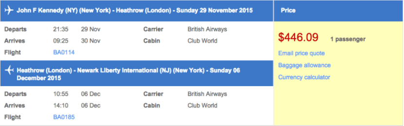 New York (JFK) to London (LHR) in business class for $446 round-trip.