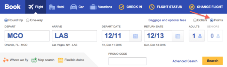Southwest award ticket search