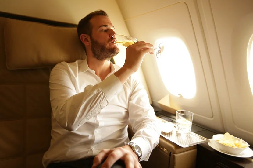Enjoying a glass of Champagne in my A380 Residence.