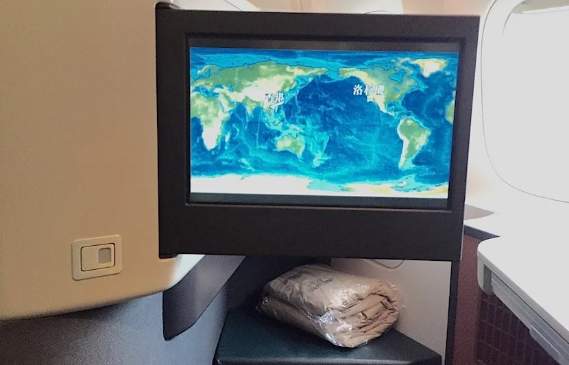 A shot of the 15-inch IFE screen.