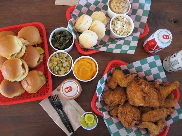 Fried chicken and sides prepared by James Beard award winner chef Robert Stehling. Photo courtesy of Chick's Fry House.
