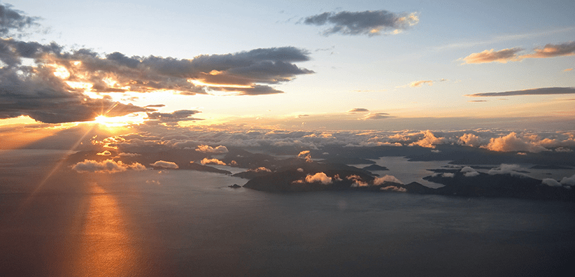 Sunset over Cook Strait is a glorious thing to behold on an approach into Wellington.