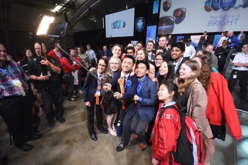 Even inventors use selfie sticks. Photo courtesy of Intel.