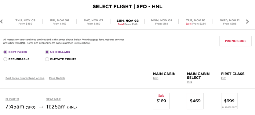 San Francisco to Honolulu for $169 one-way.