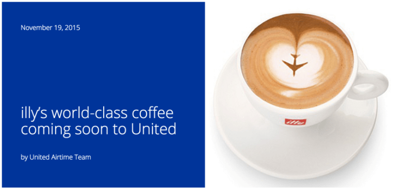 Drink Illy coffee on United flights in 2016.