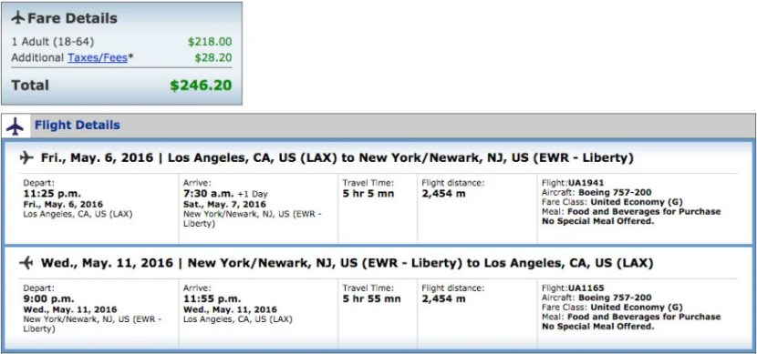 Los Angeles (LAX) to Newark (EWR) for $246 Round-Trip on United.