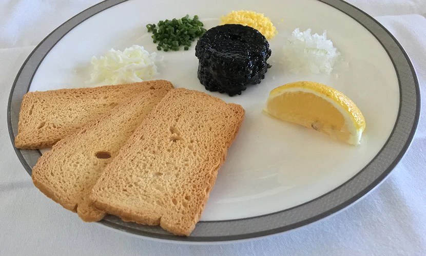 A mid-evening snack of caviar certainly hit the spot.