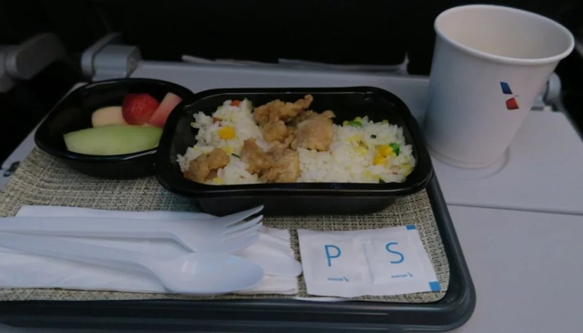 Chicken fried rice lunch and coffee