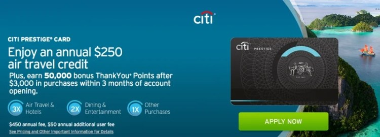 Use the Citi Prestige card to wipe out up to $250 worth of baggage fees.