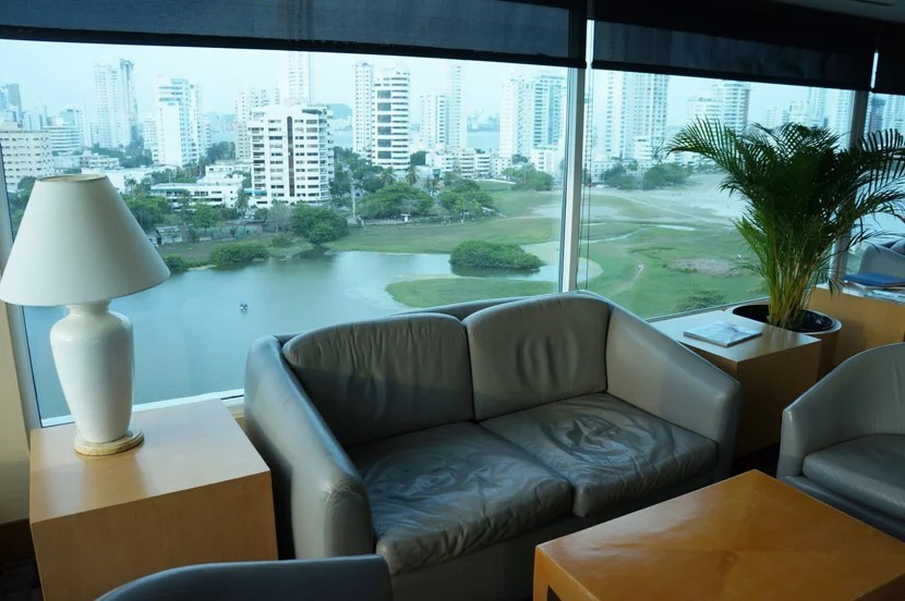 Leather seating and an early '90s vibe, with a view of the reservoir and high-rise buildings nearby.