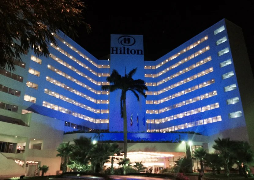 The Hilton Cartagena's blue lights at night let you know you're home.