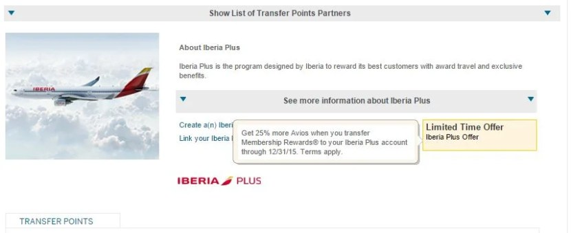 Amex Membership Rewards transfer to Iberia at a 1:1 ration through December.