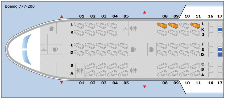 The flight had three empty business seats.