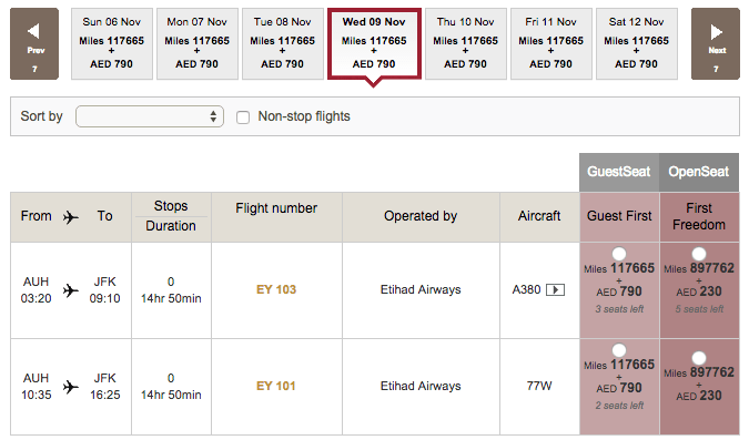 3 first-class award seats from AUH in November.