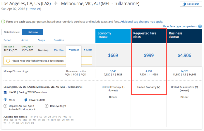 United LAX MEL upgradable