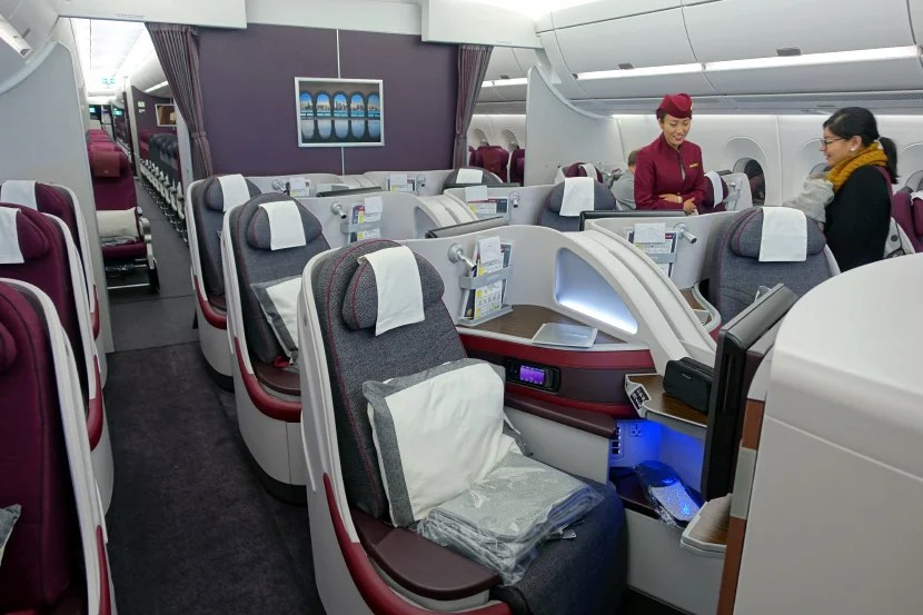 Qatar's A350 business-class cabin has 36 seats.