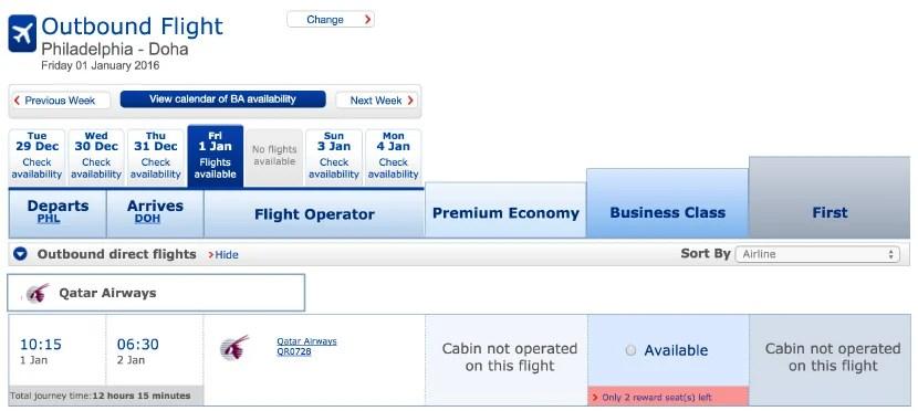 Two business-class award seats on Qatar's flight from PHL.
