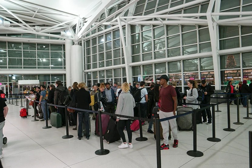 The line at check-in was handled efficiently. Image courtesy of Kofi Lee-Berman.