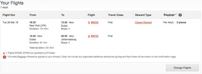 Emirates JFK JNB first 192k