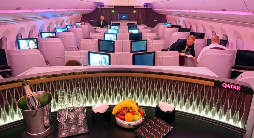 The interior of Qatar's A350.