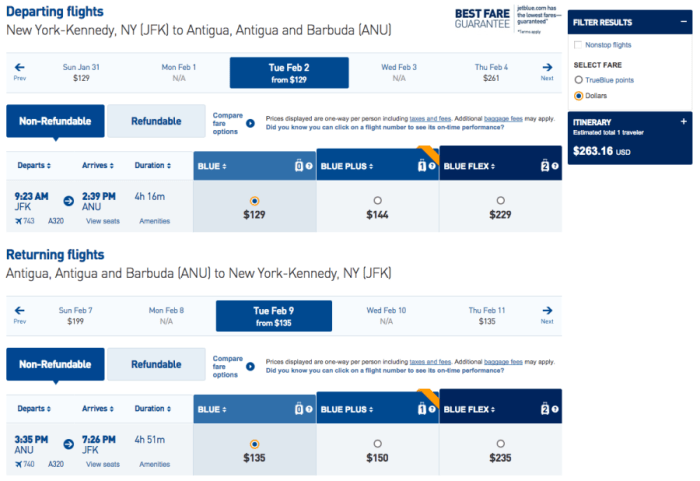 New York (JFK) to Antigua and Barbuda (ANU) for $263 on JetBlue in February.
